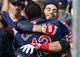 Sep 1, 2013; Detroit, MI, USA; Cleveland Indians third baseman Mike Aviles (4) hugs shortstop Asdrubal Cabrera (13) after a grand slam home run in the ninth inning against the Detroit Tigers at Comerica Park. Mandatory Credit: Rick Osentoski-USA TODAY Sports