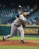 Sep 1, 2013; Houston, TX, USA; Seattle Mariners starting pitcher Hisashi Iwakuma (18) delivers a pitch during the fourth inning against the Houston Astros at Minute Maid Park. Mandatory Credit: Troy Taormina-USA TODAY Sports
