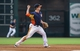 Sep 1, 2013; Houston, TX, USA; Houston Astros third baseman Matt Dominguez (30) throws to second base during the sixth inning against the Seattle Mariners at Minute Maid Park. Mandatory Credit: Troy Taormina-USA TODAY Sports