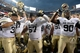 Sep 1, 2013; Denver, CO, USA; Members of the Colorado Buffaloes react following the win over the Colorado State Rams at Sports Authority Field at Mile High. The Buffaloes defeated the Rams 41-27. Mandatory Credit: Ron Chenoy-USA TODAY Sports
