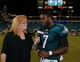 Aug 24, 2013; Jacksonville, FL, USA; ESPN reporter Shelley Smith interviews Philadelphia Eagles quarterback Michael Vick (7) after the game against the Jacksonville Jaguars at EverBank Field. The Philadelphia Eagles beat the Jacksonville Jaguars 31-24. Mandatory Credit: Phil Sears-USA TODAY Sports