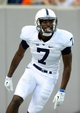 Aug 31, 2013; East Rutherford, NJ, USA; Penn State Nittany Lions wide receiver Geno Lewis (7) reacts after scoring a touchdown during the third quarter against the Syracuse Orange at MetLife Stadium.  Penn State defeated Syracuse 23-17.  Mandatory Credit: Rich Barnes-USA TODAY Sports