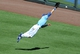 Sep 2, 2013; Kansas City, MO, USA; Kansas City Royals right fielder David Lough (7) dives for a fly ball in right field in the fourth inning of the game against the Seattle Mariners at Kauffman Stadium. Mandatory Credit: Denny Medley-USA TODAY Sports