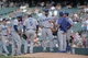 Sept 2, 2013; Denver, CO, USA; Los Angeles Dodgers relief pitcher Kenley Jansen (74) ) center as a meeting with teammates in the ninth inning against the Colorado Rockies at Coors Field. The Dodgers defeated the Rockies 10-8. Mandatory Credit: Ron Chenoy-USA TODAY Sports