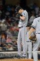 Sep 3, 2013; Bronx, NY, USA; Chicago White Sox starting pitcher Chris Sale (49) reacts after allowing a run against the New York Yankees during the eighth inning of a game at Yankee Stadium. Mandatory Credit: Brad Penner-USA TODAY Sports