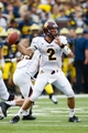 Aug 31, 2013; Ann Arbor, MI, USA; Central Michigan Chippewas quarterback Alex Niznak (2) passes the ball against the Michigan Wolverines at Michigan Stadium. Mandatory Credit: Rick Osentoski-USA TODAY Sports