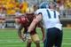 Aug 31, 2013; Boston, MA, USA; Boston College Eagles defensive back Bryce Jones (17) covers Villanova Wildcats wide receiver Joe Price (17) during the second half at Alumni Stadium. Mandatory Credit: Bob DeChiara-USA TODAY Sports