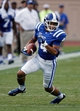 Aug 31, 2013; Durham, NC, USA; Duke Blue Devils wide receiver Johnell Barnes (4) runs the ball after a catch against the North Carolina Central Eagles at Wallace Wade Stadium. Mandatory Credit: Mark Dolejs-USA TODAY Sports