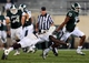 Aug 30, 2013; East Lansing, MI, USA; Michigan State Spartans wide receiver Bennie Fowler (13) breaks a tackle by Western Michigan Broncos linebacker Johnnie Simon (3) during 2nd half of a game at Spartan Stadium. MSU won 26-13.   Mandatory Credit: Mike Carter-USA TODAY Sports