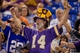Aug 29, 2013; Minneapolis, MN, USA; A Minnesota Vikings fan cheers his team as they play the Tennessee Titans at Mall of America Field at H.H.H. Metrodome. Vikings win 24-23. Mandatory Credit: Bruce Kluckhohn-USA TODAY Sports