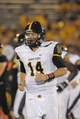 Aug 31, 2013; Columbia, MO, USA; Murray State Racers quarterback Parks Frazier (14) leaves the field in the second half of the game against the Missouri Tigers at Faurot Field. Missouri won 58-14. Mandatory Credit: Denny Medley-USA TODAY Sports