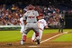 Sep 4, 2013; Philadelphia, PA, USA; Washington Nationals catcher Wilson Ramos (40) waits to tag out Philadelphia Phillies third baseman Cody Asche (25) at home plate during the seventh inning at Citizens Bank Park. The Nationals defeated the Phillies 3-2. Mandatory Credit: Howard Smith-USA TODAY Sports
