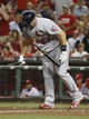 Sep 4, 2013; Cincinnati, OH, USA; St. Louis Cardinals first baseman Matt Adams breaks his bat after striking out in the eighth inning against the Cincinnati Reds at Great American Ball Park. St. Louis won 5-4 in 16 innings. Mandatory Credit: David Kohl-USA TODAY Sports