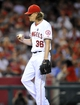 September 4, 2013; Anaheim, CA, USA; Los Angeles Angels starting pitcher Jered Weaver (36) reacts after giving up a two run home run in the seventh inning against the Tampa Bay Rays at Angel Stadium of Anaheim. Mandatory Credit: Gary A. Vasquez-USA TODAY Sports