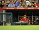 September 4, 2013; Anaheim, CA, USA; Los Angeles Angels manager Mike Scioscia (14) watches game action during the seventh inning against the Tampa Bay Rays at Angel Stadium of Anaheim. Mandatory Credit: Gary A. Vasquez-USA TODAY Sports