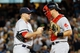 Sep 5, 2013; Bronx, NY, USA;  Boston Red Sox starting pitcher Jake Peavy (44) and catcher Ryan Lavarnway (20) talk during the third inning against the New York Yankees  at Yankee Stadium. Mandatory Credit: Anthony Gruppuso-USA TODAY Sports