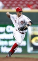 Sep 5, 2013; Cincinnati, OH, USA; Cincinnati Reds shortstop Zack Cozart (2) makes a play during the fourth inning against the St. Louis Cardinals at Great American Ball Park. Mandatory Credit: Frank Victores-USA TODAY Sports