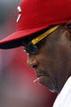 Sep 5, 2013; Cincinnati, OH, USA; Cincinnati Reds manager Dusty Baker (12) in the dugout during the first inning against the St. Louis Cardinals at Great American Ball Park. Mandatory Credit: Frank Victores-USA TODAY Sports