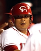 Sep 5, 2013; Cincinnati, OH, USA; Cincinnati Reds center fielder Shin-Soo Choo (17) is congratulated by team mates after hitting a solo home run during the fourth inning against the St. Louis Cardinals at Great American Ball Park. Mandatory Credit: Frank Victores-USA TODAY Sports