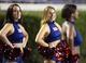 September 5, 2013; Greenville, NC, USA;  Florida Atlantic cheerleaders look on against East Carolina at Dowdy-Ficklen Stadium. East Carolina Pirates defeated the Florida Atlantic Owls 31-13. Mandatory Credit: James Guillory-USA TODAY Sports