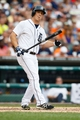 Sep 1, 2013; Detroit, MI, USA; Detroit Tigers left fielder Andy Dirks (12) reacts at bat against the Cleveland Indians at Comerica Park. Mandatory Credit: Rick Osentoski-USA TODAY Sports