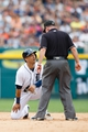 Sep 1, 2013; Detroit, MI, USA; Detroit Tigers shortstop Jose Iglesias (1) looks to umpire Lance Barksdale after being called out trying to steal second against the Cleveland Indians at Comerica Park. Mandatory Credit: Rick Osentoski-USA TODAY Sports