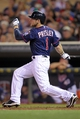Sep 6, 2013; Minneapolis, MN, USA; Minnesota Twins outfielder Alex Presley (1) hits a double during the third inning against the Toronto Blue Jays at Target Field. Mandatory Credit: Brace Hemmelgarn-USA TODAY Sports