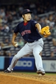 Sep 6, 2013; Bronx, NY, USA; Boston Red Sox relief pitcher Koji Uehara (19) pitches against the New York Yankees during the ninth inning of a game at Yankee Stadium. Mandatory Credit: Brad Penner-USA TODAY Sports