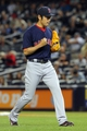 Sep 6, 2013; Bronx, NY, USA; Boston Red Sox relief pitcher Koji Uehara (19) reacts after the final out of a game against the New York Yankees at Yankee Stadium. Mandatory Credit: Brad Penner-USA TODAY Sports