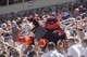 Sep 7, 2013; Blacksburg, VA, USA; Virginia Tech Hokies mascot is lifted in the stands during the first quarter of the game between the Virginia Tech Hokies and the Western Carolina Catamounts at Lane Stadium. Mandatory Credit: Jeremy Brevard-USA TODAY Sports