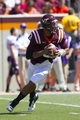 Sep 7, 2013; Blacksburg, VA, USA; Virginia Tech Hokies quarterback Logan Thomas (3) rolls outside during the first quarter against the Western Carolina Catamounts at Lane Stadium. Mandatory Credit: Jeremy Brevard-USA TODAY Sports