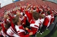 Sep 7, 2013; Madison, WI, USA; Members of the Wisconsin Badgers marching band between the third and fourth quarters of the game against the Tennessee Tech Golden Eagles at Camp Randall Stadium.  Wisconsin won 48-0.  Mandatory Credit: Jeff Hanisch-USA TODAY Sports
