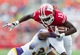 Sep 7, 2013; Madison, WI, USA; Wisconsin Badgers wide receiver Robert Wheelwright (19) is tackled by Tennessee Tech Golden Eagles cornerback Tevin  McDermott (36) during the fourth quarter at Camp Randall Stadium.  Wisconsin won 48-0.  Mandatory Credit: Jeff Hanisch-USA TODAY Sports