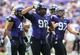 Sep 7, 2013; Fort Worth, TX, USA; TCU Horned Frogs defensive tackle Jon Lewis (98) celebrates after recording a sack during the game against the Southeastern Louisiana Lions at Amon G. Carter Stadium. Mandatory Credit: Kevin Jairaj-USA TODAY Sports
