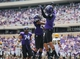 Sep 7, 2013; Fort Worth, TX, USA; TCU Horned Frogs wide receiver Josh Doctson (9) celebrates scoring a touchdown with running back B.J. Catalon (23) during the game against the Southeastern Louisiana Lions at Amon G. Carter Stadium. Mandatory Credit: Kevin Jairaj-USA TODAY Sports