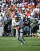 Sep 7, 2013; Charlottesville, VA, USA; Oregon Ducks quarterback Marcus Mariota (8) looks to pass in the second quarter at Scott Stadium. Mandatory Credit: Bob Donnan-USA TODAY Sports