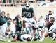Sep 7, 2013; East Lansing, MI, USA; Michigan State Spartans running back Jeremy Langford (33) runs the ball against the South Florida Bulls defense during the 2nd half at Spartan Stadium. MSU won 21-6. Mandatory Credit: Mike Carter-USA TODAY Sports