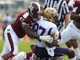 Sep 7, 2013; Starkville, MS, USA; Mississippi State Bulldogs defensive lineman AJ Jefferson (47) tackles Alcorn State Braves wide receiver Jarvis Turner (87) at Davis Wade Stadium. Mandatory Credit: Marvin Gentry-USA TODAY Sports