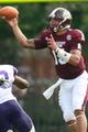 Sep 7, 2013; Starkville, MS, USA;  Mississippi State Bulldogs quarterback Dak Prescott (15) passes against the Alcorn State Braves at Davis Wade Stadium. Mandatory Credit: Marvin Gentry-USA TODAY Sports