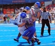 Sep 7, 2013; Boise, ID, USA; Tennessee Martin Skyhawks quarterback Dylan Favre (1) is sandwiched by Boise State Broncos defensive lineman Beau Martin (53) and linebacker Darren Lee (44) during the second half against the Boise State Broncos at Bronco Stadium.  Boise State defeated Tennessee Martin 63-14.  Mandatory Credit: Brian Losness-USA TODAY Sports