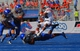Sep 7, 2013; Boise, ID, USA; Tennessee Martin Skyhawks running back Najee Ray (14) is upended by Boise State Broncos cornerback Mercy Maston (19)during the second half against the Boise State Broncos at Bronco Stadium.  Boise State defeated Tennessee Martin 63-14.  Mandatory Credit: Brian Losness-USA TODAY Sports