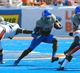 Sep 7, 2013; Boise, ID, USA; Boise State Broncos running back Jay Ajayi (27) runs for a first down during the second half against the Tennessee Martin Skyhawks at Bronco Stadium. Boise State defeated Tennessee Martin 63-14. Mandatory Credit: Brian Losness-USA TODAY Sports