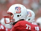 Sep 7, 2013; Raleigh, NC, USA; North Carolina State Wolfpack player Alex Barr (71) looks on from the bench during the first half against the Richmond Spiders at Carter Finley Stadium.  North Carolina State Wolfpack players wore specially designed helmets for military appreciation day. Mandatory Credit: Rob Kinnan-USA TODAY Sports