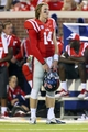 Sep 7, 2013; Oxford, MS, USA; Mississippi Rebels quarterback Bo Wallace (14) watches from the sideline during the first half against the Southeast Missouri State Redhawks at Vaught-Hemingway Stadium. Mandatory Credit: Spruce Derden-USA TODAY Sports