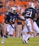 Sep 7, 2013; Auburn, AL, USA; Auburn Tigers quarterback Nick Marshall (14) hands the ball off to Auburn Tigers running back Tre Mason (21) during the first half against the Arkansas State Red Wolves at Jordan Hare Stadium. Mandatory Credit: Shanna Lockwood-USA TODAY Sports