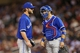 Sep 7, 2013; Minneapolis, MN, USA; Toronto Blue Jays starting pitcher Kyle Drabek (4) and catcher J.P. Arencibia (9) talk during the eighth inning against the Minnesota Twins at Target Field. The Blue Jays won 11-2. Mandatory Credit: Jesse Johnson-USA TODAY Sports