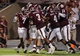 Sep 7, 2013; College Station, TX, USA; Members of the Texas A&M Aggies celebrate after linebacker Nate Askew (9) returns an interception for a touchdown during the third quarter against the Sam Houston State Bearkats at Kyle Field. Mandatory Credit: Troy Taormina-USA TODAY Sports