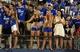 Sep 7, 2013; Lawrence, KS, USA; Kansas Jayhawks fans sing the alma mater after the game against the South Dakota Coyotes at Memorial Stadium. Kansas won the game 31-14. Mandatory Credit: John Rieger-USA TODAY Sports