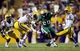 Sep 7, 2013; Baton Rouge, LA, USA; LSU Tigers safety Ronald Martin (26) breaks up a pass intended for UAB Blazers wide receiver Dequindre Adams (20) in the second half at Tiger Stadium. LSU defeated UAB 56-17. Mandatory Credit: Crystal LoGiudice-USA TODAY Sports