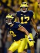 Sep 7, 2013; Ann Arbor, MI, USA; Michigan Wolverines wide receiver Drew Dileo (9) celebrates after catching a pass for a touchdown during the fourth quarter against the Notre Dame Fighting Irish at Michigan Stadium. Mandatory Credit: Andrew Weber-USA TODAY Sports